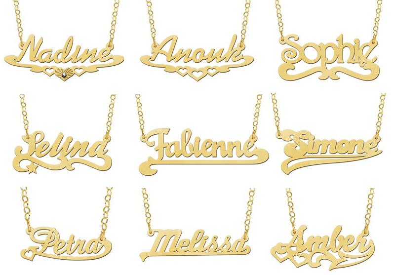gouden naam ketting 18 karaat