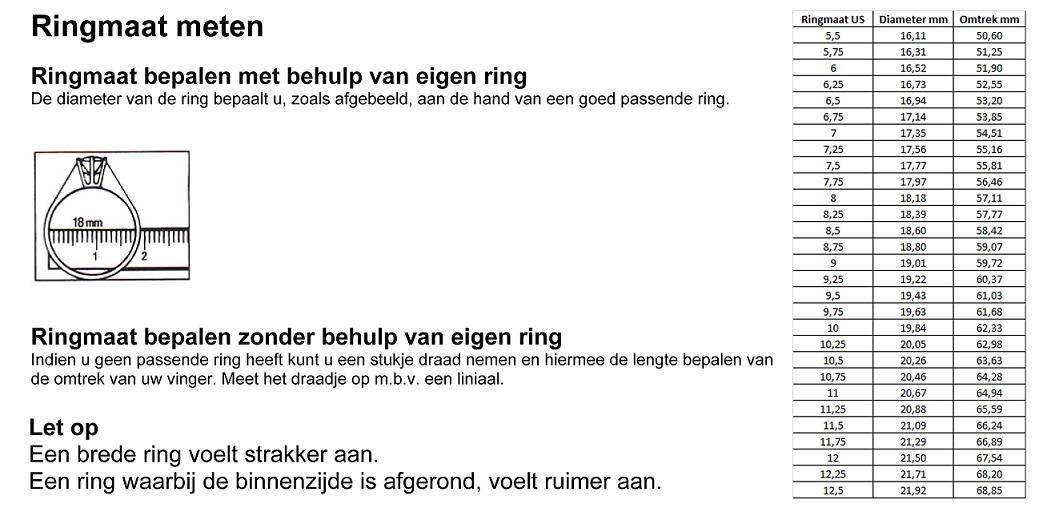 dames ring ringmaat meten