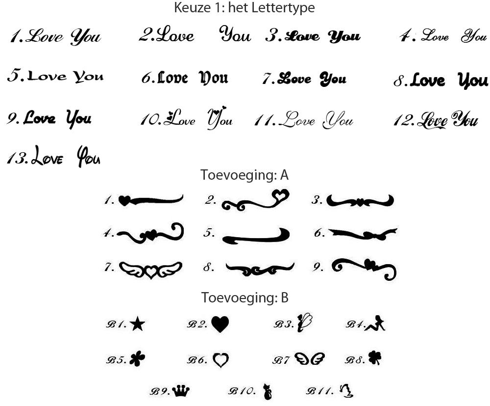 Naamketting lettertypes